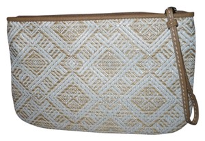 Ann Taylor LOFT Straw white & tan Clutch