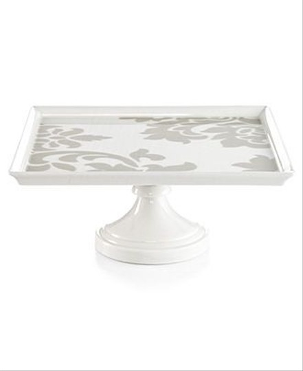 Grey Stenciled Cake Stand