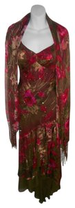 Sue Wong Matching Shawl Silk Green Burgandy Dress
