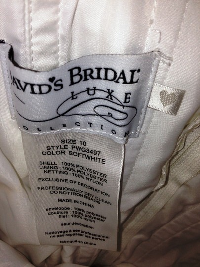 David's Bridal Soft White Satin Luxe Pwg3497 Formal Wedding Dress Size 10 (M)