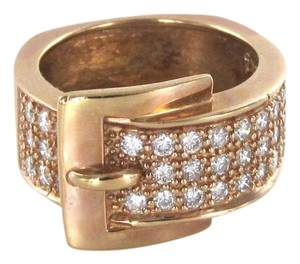 14KT SOLID ROSE GOLD KARAT RING BAND BUCKLE 35 DIAMOND .75CT SZ 5.5 FINE JEWELRY