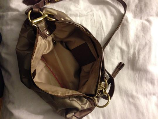 Coach Leather Brown Gold Monogram Print Cross Body Bag