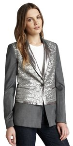 Elizabeth and James Coat Work Weekend Sparkle Gray Blazer
