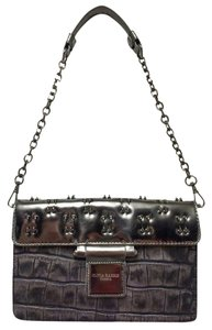 Olivia M Silver Shoulder Gunmetal Clutch