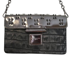 Olivia Harris Silver Metallic Hardware Gunmetal Clutch