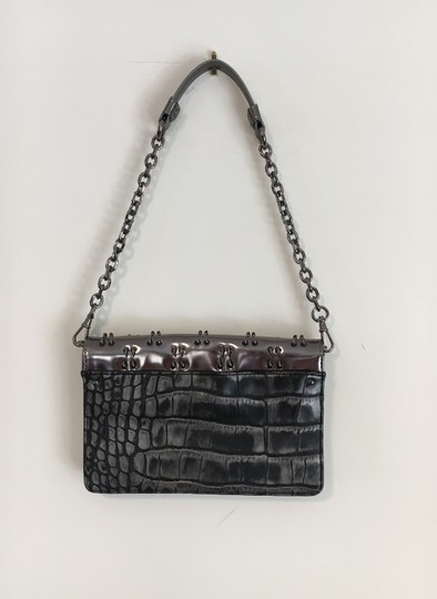 Olivia Harris Silver Shoulder Metallic Hardware Gunmetal Clutch