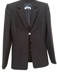 Salvatore Ferragamo Tailored Italian Elegance Multi Purpose. Signature Buttons Chocolate Brown Jacket