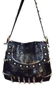 Roberto Cavalli Studded Leather Fabric Shoulder Bag