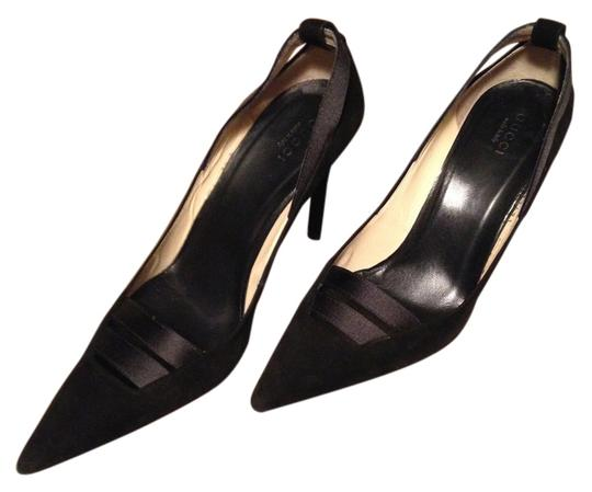Gucci Suede Satin Evening Pointed Toe Black Pumps