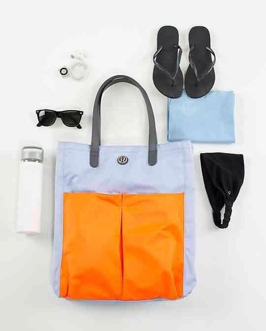 Item - Go with The Flow Orange / Blue Canvas Tote