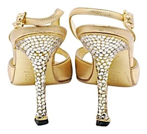 Manolo Blahnik Rhinestones Stiletto Slingback Gold Pumps