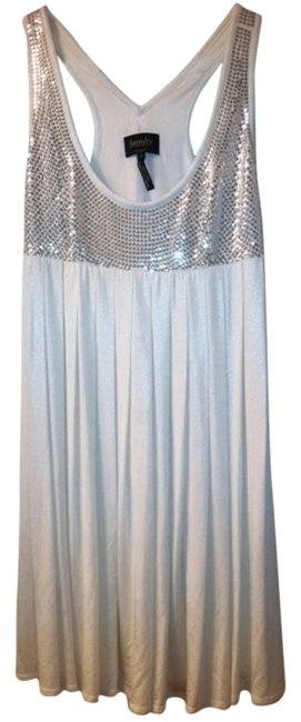 Laundry by Shelli Segal Silver Sequins Bachelorette Wedding Rehearsal Party Silky Sequined Silver And Sparkle Bachelorette Engagement Dress