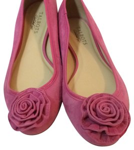 Talbots Suede Ballet Rosette Detail Made In Brazil Narrow Width Pink Flats