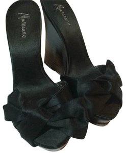 Marciano Platform Wedge Ombre Heel Satin Bow Open Toe Black Formal