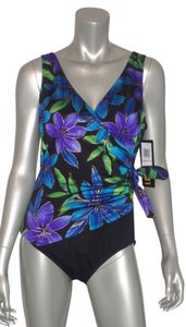 Longitude SWIMSUIT 8 NWT LONGITUDE 1 PC SURPLICE TROPICAL PRINT W GOLD FOIL SIDE TIE