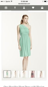 David's Bridal Mint F15607 One Shoulder Short Dress With Illusion Neck Dress