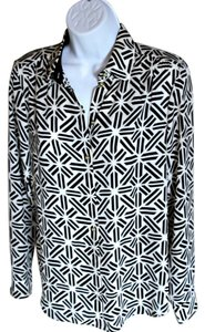 Banana Republic Button Down Shirt Black and White Graphic Print