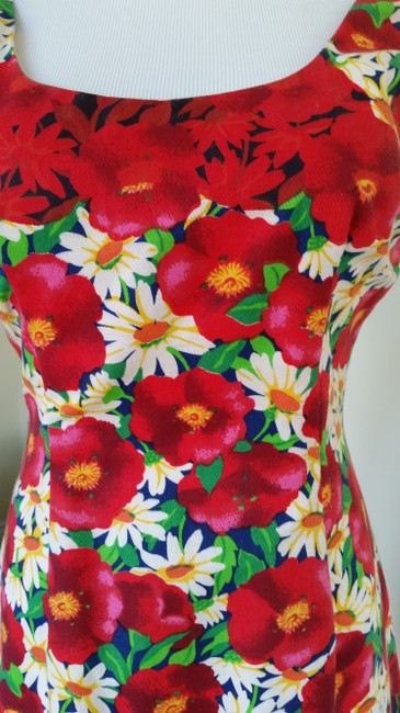 Jill Stuart short dress Bold floral red green white yellow blue on Tradesy