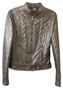 Dolce&Gabbana Metalic Silver Leather & Gold Hardware Leather Jacket