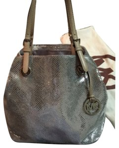 Michael Kors Tote in Silver With Tan Straps