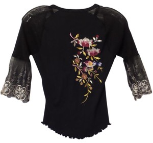 Custo Barcelona Silver Mixed Fabric Knit Mesh Top Silver, Black, Off-White, Grey + Multi-Color Embroidery