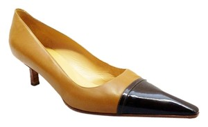 Chanel Brown Patent Leather Tan Contrast Brown, Tan Pumps