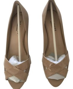 Jon Josef Leather Patent Leather Size 9 Peep Toe Beige Wedges