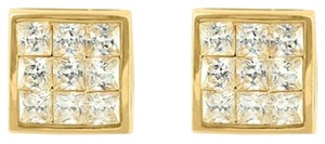 Mens Earrings Sterling Silver 14k Gold Finish Princess Dome Lab Diamond Stud 8mm