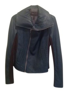 BCBGMAXAZRIA Leather Moto W/ Wool Inset Motorcycle Jacket