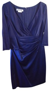 Kay Unger Satin Three Quarter Sleeves Dress