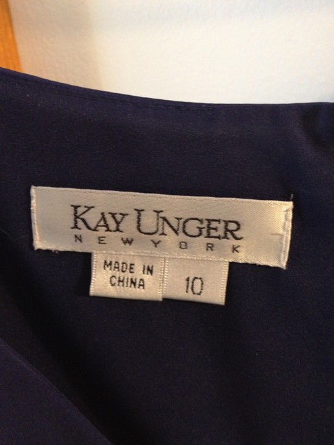 Kay Unger Satin Three Quarter Sleeves Holiday Formal New Years Blue Dress