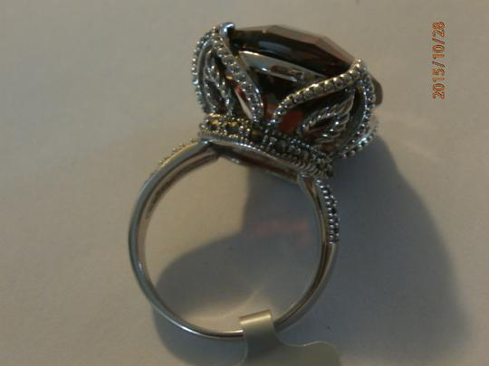 Other NEW amazing Sterling Silver Marcasite Ring ruby CZ SIZE 6 Image 2