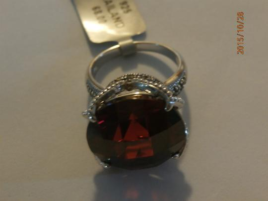 Other NEW amazing Sterling Silver Marcasite Ring ruby CZ SIZE 6 Image 3