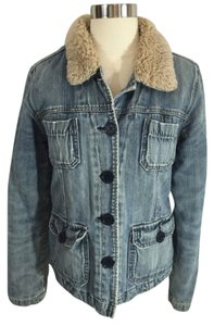 Abercrombie & Fitch Faux Fur Quilted Denim Womens Jean Jacket