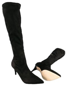 Barneys New York Knee High Suede Pointed Toe Black Boots