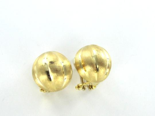 itlay 18KT SOLID YELLOW GOLD EARRINGS FRENCH SATIN BALL HUGGIE ITALY CLIP FINE JEWELRY
