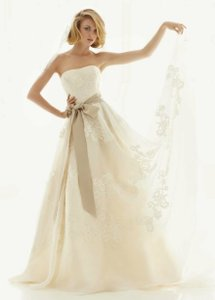 David's Bridal Strapless Satin Organza Wedding Gown With Antique Lace - Ivory White Dress Wedding Dress