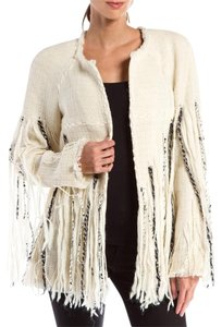 Chanel Fringe Wool Cream/ Black Jacket