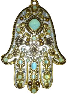 Michal Golan Michal Golan Brass, Cat's Eye, Pacific Opal, Topaz and Crystals Wall Hamsa