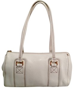 Fossil Pebbled Leather Satchel in Eggshell White
