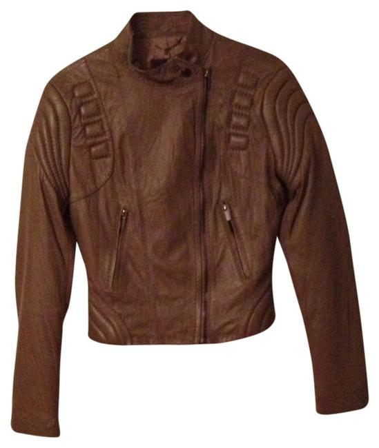 Item - Taupe Leather Moto Small Jacket Size 4 (S)