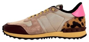 Valentino Beige Leather Suede Multicolor Athletic