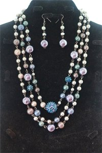 CJ Blue Violet Necklace & Earring Set