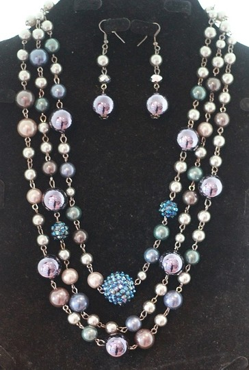 CJ Blue Violet Necklace & Earring Set Image 1