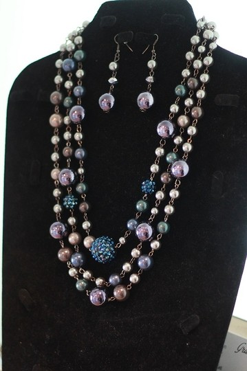 CJ Blue Violet Necklace & Earring Set Image 4