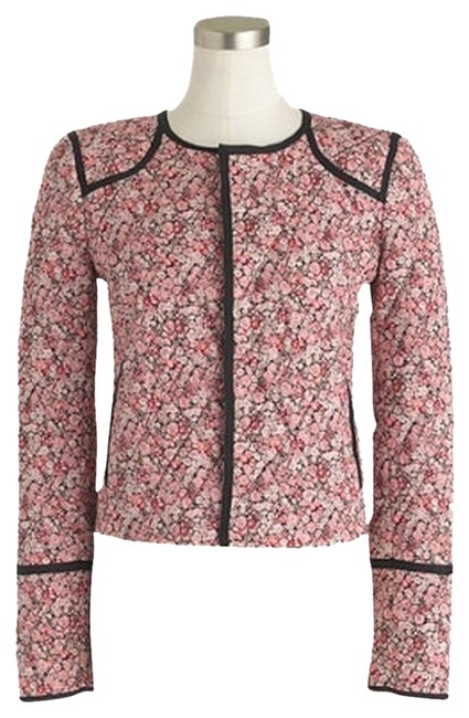 J.Crew Quilted Floral Cropped Collarless Pink Jacket