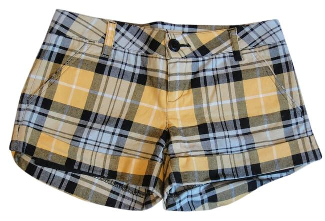 Hot Kiss Plaid Check Pockets Cuff Cuffed Shorts Yellow, Black, White