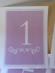 Lilac Table Numbers