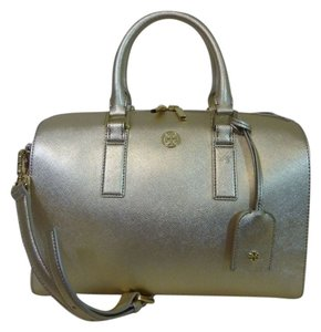 Tory Burch Metallic Metallic Metallic Tote Saffiano Leather Satchel in Gold
