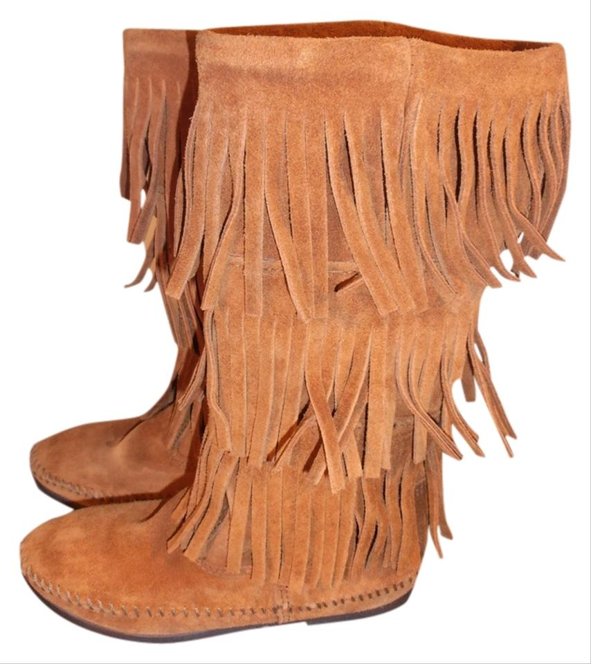 lady Minnetonka Brown Layer charming Fring Boots/Booties Nice and charming Layer 6a7081
